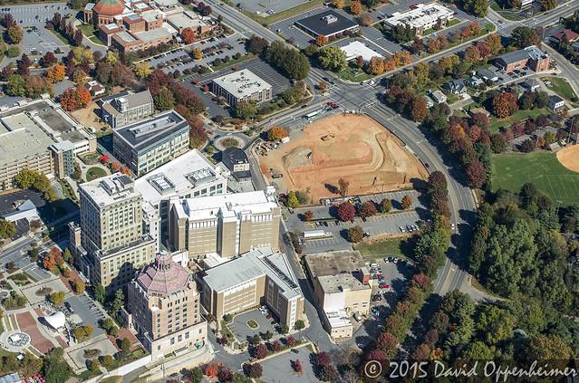 buncombe county judicial complex aerial photo in asheville
