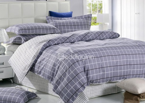 Gray-Grid-Print-Reversible-4-Piece-Cotton-Duvet-Cover-Sets-11049836