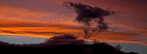 sunset red sky panorama cloud mountain clouds tasmania hobart mtwellington