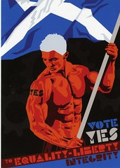 Yes postcard designed by Stewart Bremner. 'Vote Yes to Equality, Liberty, Integrity.'  2014