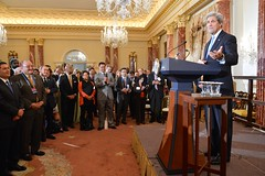 U.S. Secretary of State John Kerry addresses a joint reception in honor of the 46th Annual Washington Conference on the Americas and the U.S.-Caribbean-Central American Energy Summit, at the U.S. Department of State in Washington, D.C., on May 3, 2016. [State Department photo/ Public Domain]