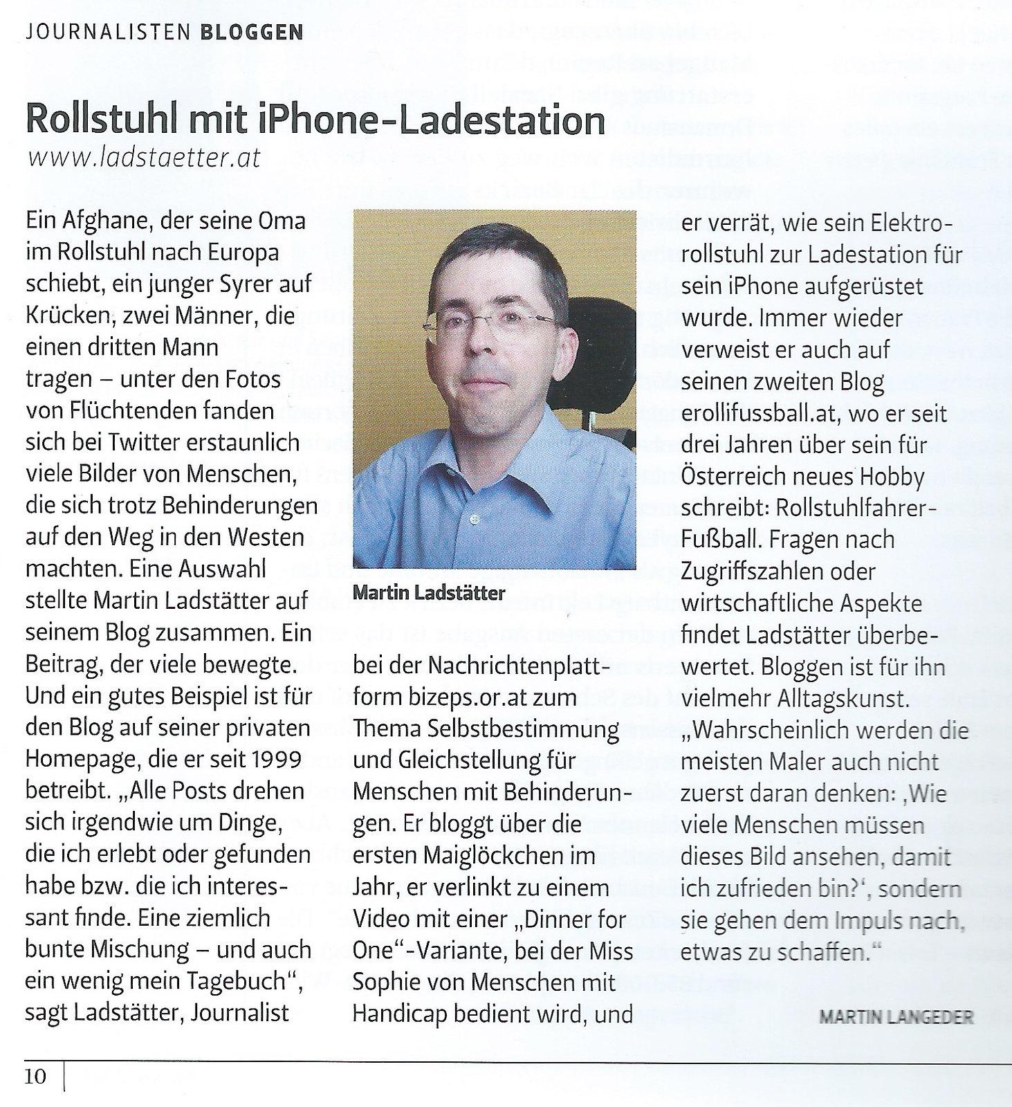 Der Österreichische Journalist: Rollstuhl mit iPhone Ladestation