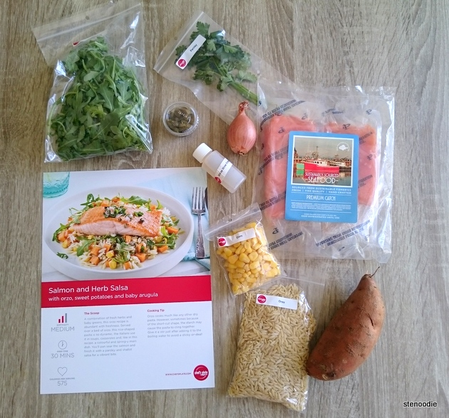 Ingredients and recipe for the Salmon and Herb Salsa