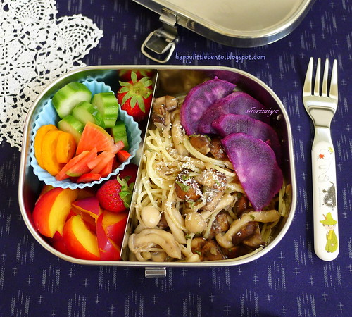 Angel Hair Mushroom Saute Bento by sherimiya ♥