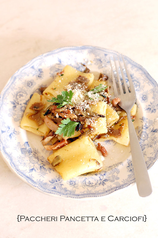 PAccheri pancetta e carciofi