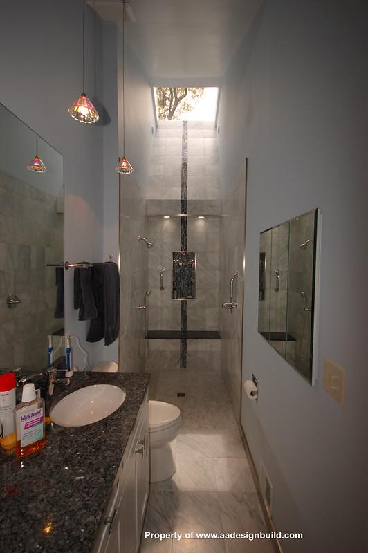Long and Narrow Bathroom with skylight