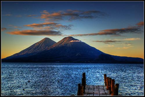 sky lake sunrise lago muelle dock guatemala atitlán amanecer cielo santacatarina volcanes sololá vulcanos tolimán palopó