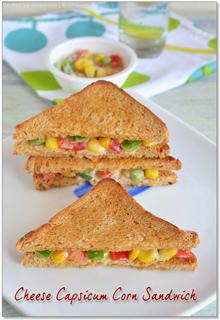 Cheesy Corn Capsicum Sandwich