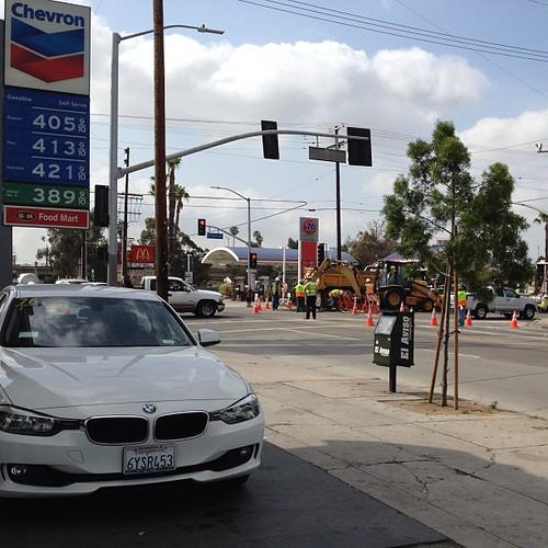 Utility work turning Avenue 26 and N. Figueroa into miasma of exhaust.