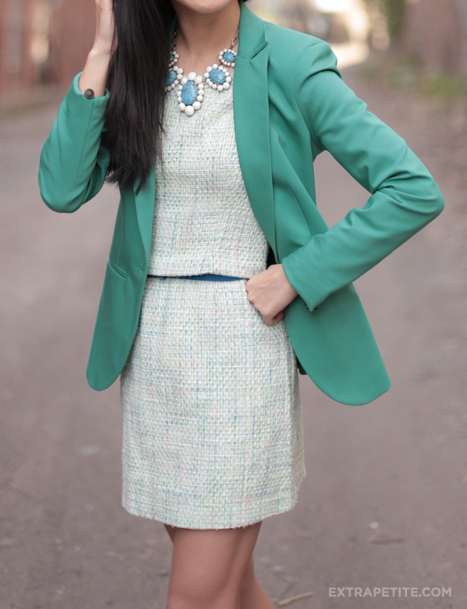 green blazer pastel tweed1
