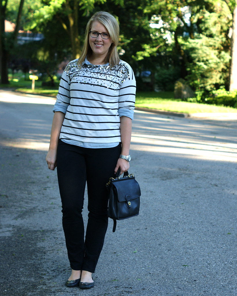 stripes and chambray layered