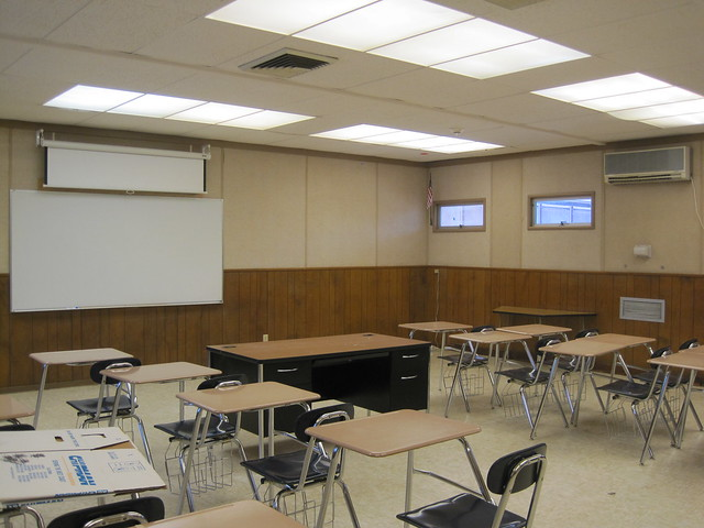 164: Checking out my classroom for next year, totally stoked on the wood paneling