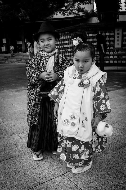 A couple of kids attending a traditional Shinto wedding at Meiji Shrine