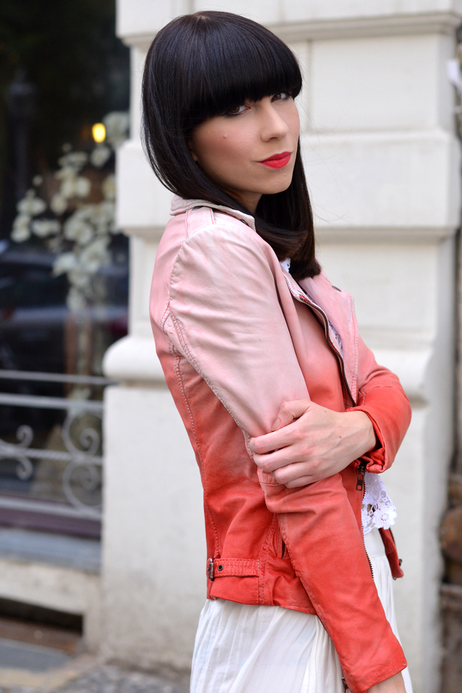 Muuba ombre leather biker jacket white red outfit 1