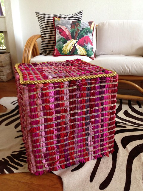 I spend way too much time in Home Goods  Like the cashiers know me by name   Recently they have had a lot of fabulous items from India that have been. Thrift Store Revamp   Rug Covered Stool DIY   Jennifer Perkins