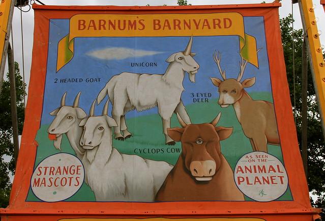 Barnum's Barnyard, Strange Mascots, As Seen on The Animal Planet, 2 Headed Goat, Unicorn, 3 Eyed Deer, Cyclops Cow