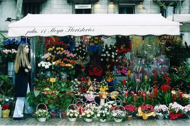 Flower stand along Las Ramblas
