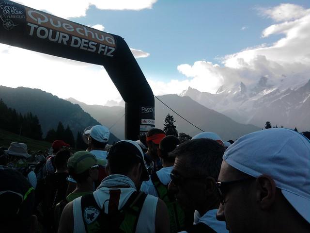 départ avec vue sur Massif Mont Blanc