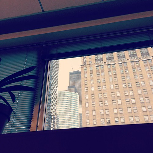 I've been sitting at this desk since Monday. Now that we've opened the blinds, I see that I have a view of the Sears Tower. Sweet.