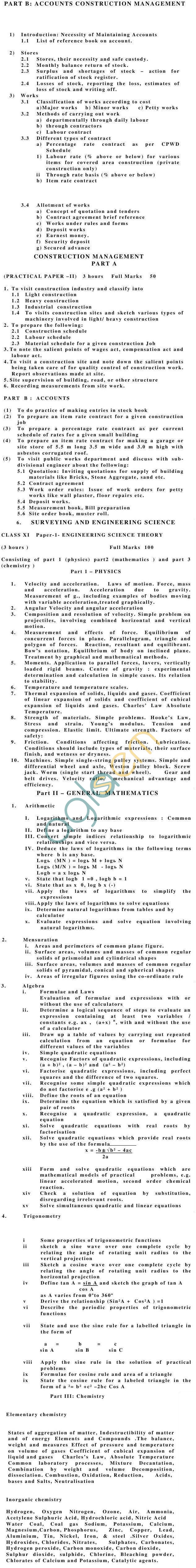 ICSCE CVE-12 Civil Engg. Techician Syllabus 2014