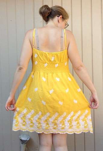 Yellow Rose of Texas Dress-to-Cami Refashion - Before