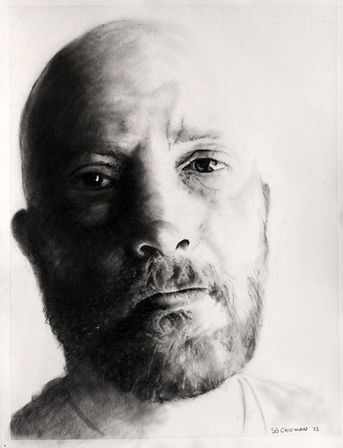 Carbon pencil portrait entitled Self Portrait XI