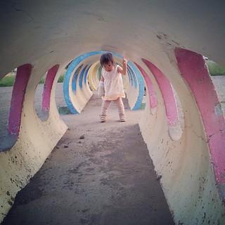 初めて訪れた公園で、初めての遊具にテンションあがる娘さん。
