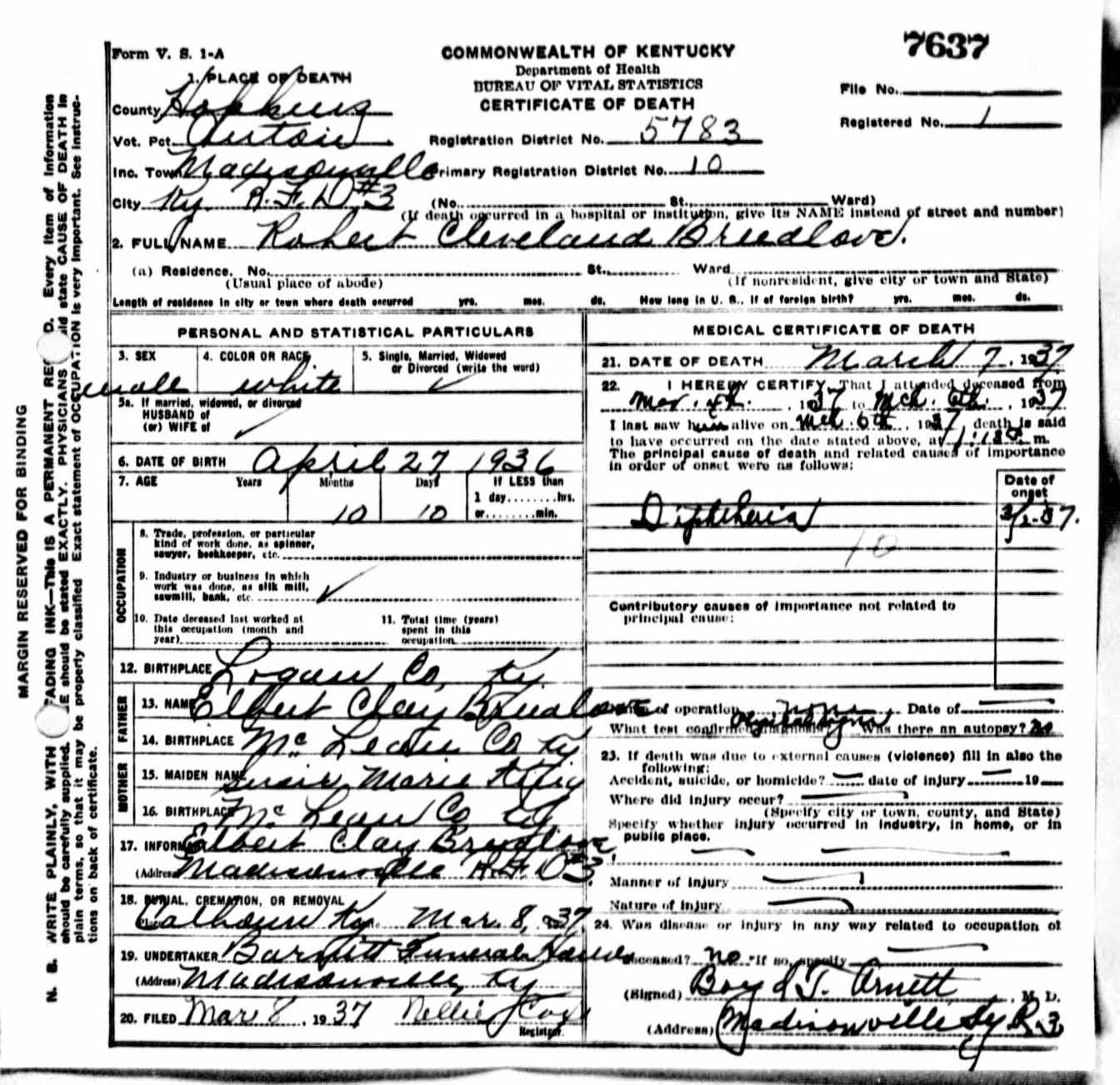 Robert Cleveland Breedlove Death