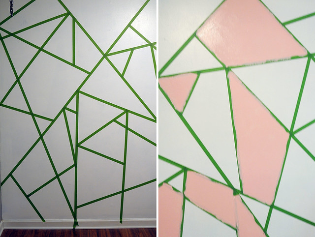Office Makeover DIY Geometric Glitter Wall - Kaelah Bee