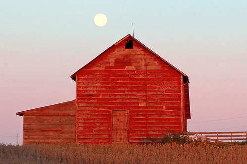 sunset moon weather night barn evening clear