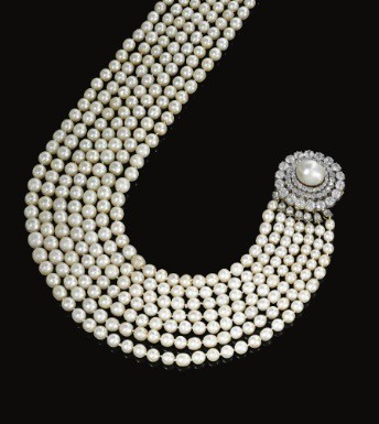 Natural pearl and diamond necklace circa 1880
