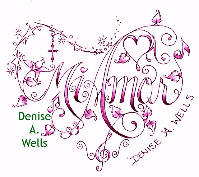 mi amor lettering made into a heart shaped tattoo design by denise a wells flickr photo. Black Bedroom Furniture Sets. Home Design Ideas