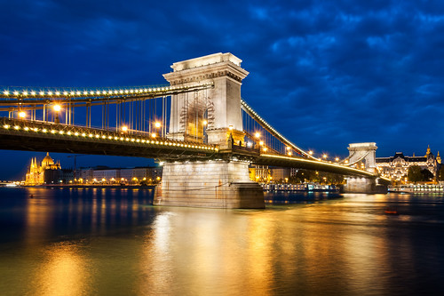 city longexposure bridge light monument architecture night river twilight europe hungary cloudy capital budapest bluehour danube nationalgeographic chainbridge