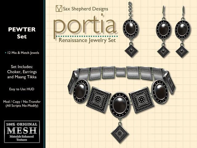 Portia Renaissance Jewelry Set (Pewter)