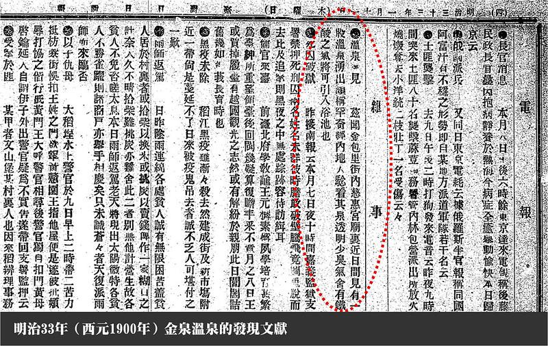 臺灣日日新報金泉溫泉發現文獻