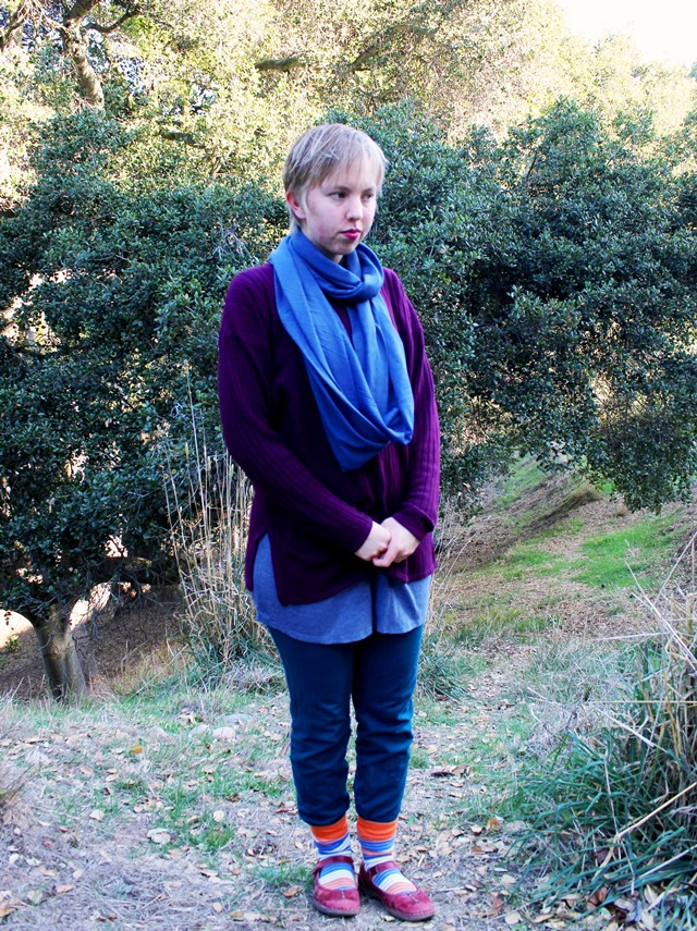 blue infinity scarf, slouchy purple sweater, teal skinny jeans - OOTD 1/17/2014