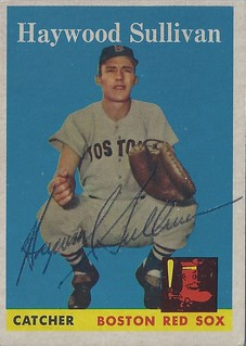 1958 Topps - Haywood Sullivan #197 (Catcher) (b: 15 Dec 1930 - d: 12 Feb 2003 at age 72) - Autographed Baseball Card (Boston Red Sox)