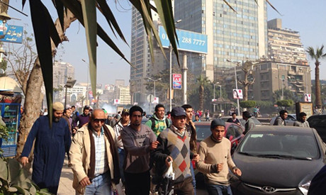 Egyptian police disperse demonstrations in Cairo opposing military rule.  January 25, 2014 marked the third anniversary of the 2011 uprising. by Pan-African News Wire File Photos