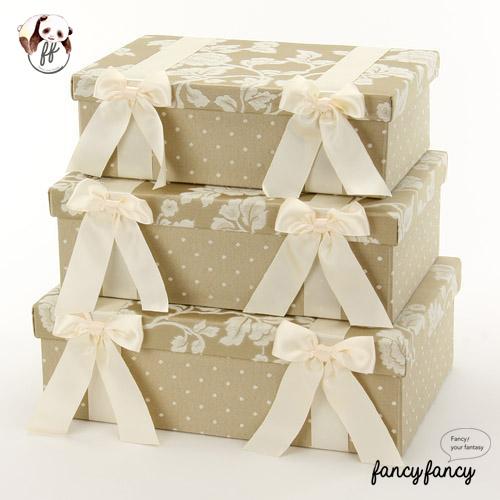 86.優雅宮廷風緞帶蝴蝶結收納盒(美國設計 大中小三個一組)-象牙色