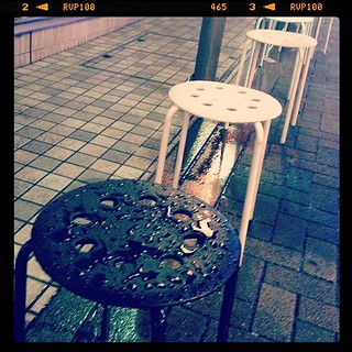 #street #chairs in the rain