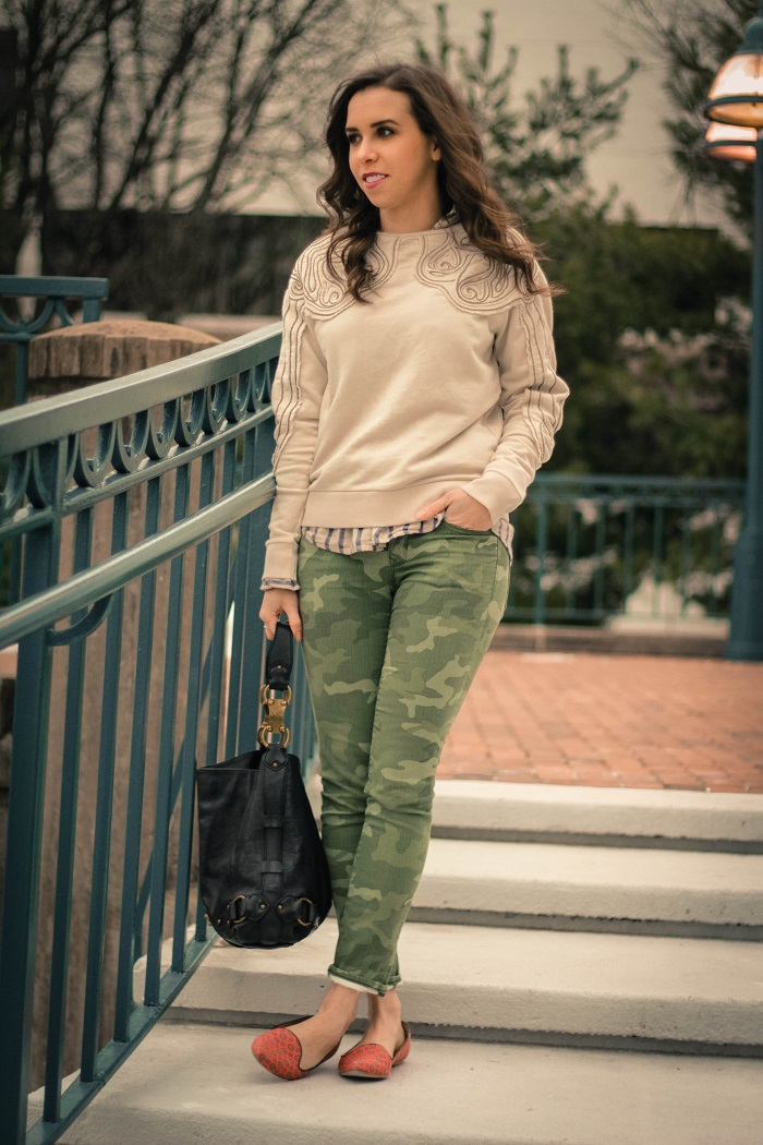 va darling. dc blogger. virginia personal style blogger. beaded sweatshirt. camo pants. printed silk flats.2