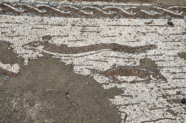 Mosaic floor, Roman Villa of Pisões, Lusitania, Portugal