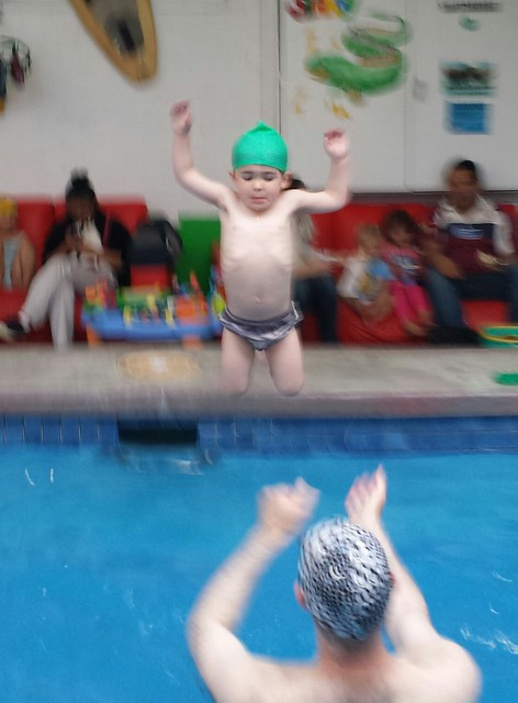 He loves doing crocodile jumps!