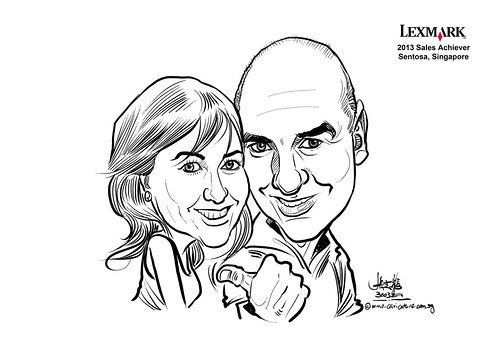 digital couple caricatures for Lexmark - Justine Guy