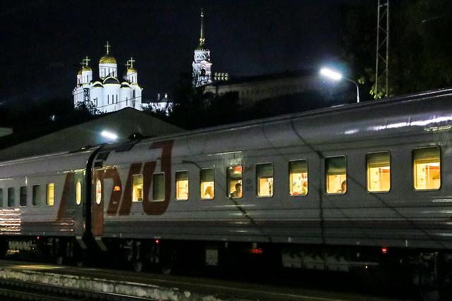 Illuminated Dormition Cathedral seen from the platform of Vladimir railway station, Russia ウラジーミル駅のホームから見たウスペンスキー大聖堂