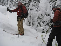 telemark skiing(0.0), snowshoe(1.0), adventure(1.0), footwear(1.0), winter(1.0), sports(1.0), snow(1.0), mountaineering(1.0), ski touring(1.0), mountain guide(1.0), ski mountaineering(1.0), nordic skiing(1.0),