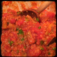 #CucinaDelloZio - #Homemade #Eggplant & #RedLentils - mix and let simmer
