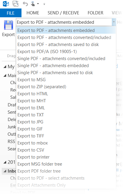 This screenshot shows a list of the many email conversion formats suported by MessageExport, including PDF, PDF/A, MSG, ZIP, HTML, EML, MBOX, CSV, TIF, GIF, MHT and others.