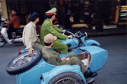 Military Police on a Motorcycle with a Sidecar