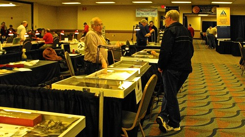 Wayne Homren purchasing Burns estate items from Ed Krivoniak at OCT-2014 PAN Show